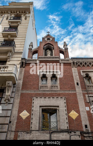 MADRID, SPAIN - February, 2019: Detail of the facade of the old Monastery of La Concepción and La Latina Hospital - Stock Photo