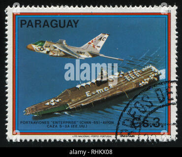 RUSSIA KALININGRAD, 22 APRIL 2017: stamp printed by Paraguay, shows Enterprise, S-3A Viking, US, circa 1983 - Stock Photo