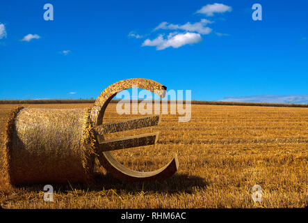 Euro sign leaning against a bale of straw on a harvested field, illustration - Stock Photo
