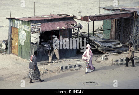 13th October 1993 Typical street scene near the K4 Roundabout in Mogadishu, Somalia. - Stock Photo