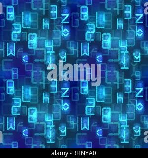A lot of bright blue digital retro electronic led signs on dark, complicated calculations seamless pattern - Stock Photo