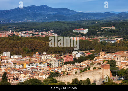 Girona city and province landscape in Catalonia region of Spain. - Stock Photo