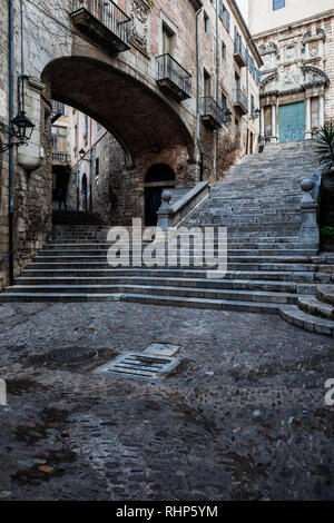 City of Girona at night, Pujada de Sant Domenec stairs and Arch of the Agullana Palace in Old Town, Catalonia, Spain. - Stock Photo