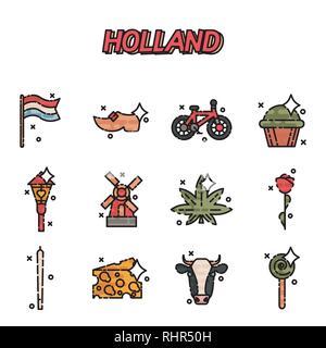 Netherland Flat Icons Design Travel Concept. Vector illustration, EPS 10 - Stock Photo