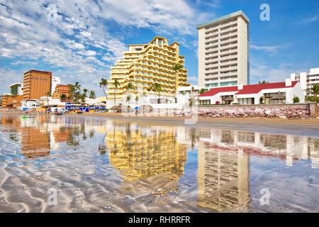 Mazatlan, Mexico-10 December, 2018: Mazatlan Golden Zone (Zona Dorada), a famous touristic beach and resort zone in Mexico - Stock Photo