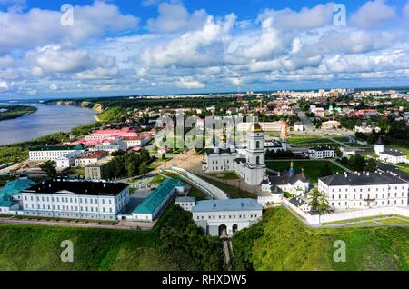 Tobolsk, Russia - July 15, 2016: Aerial view onto Kremlin. Tyumen region - Stock Photo