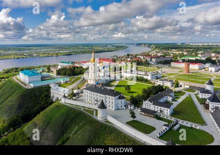 Tobolsk, Russia - July 15, 2016: Bird eye view onto Tobolsk Kremlin. Tyumen region - Stock Photo