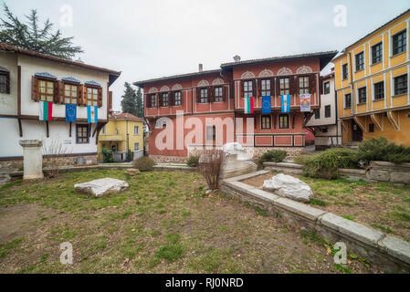Houses from the period of Bulgarian Revival in old town of Plovdiv, Bulgaria - Stock Photo