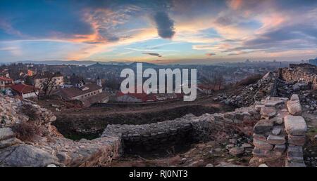 Plovdiv city, Bulgaria, panoramic view from Nebet tepe hill - Stock Photo