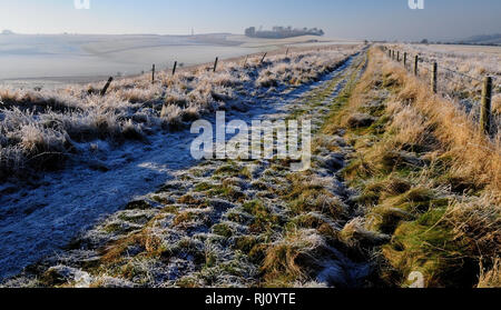 A hard frost along tthe route of the Old Bath Road heading towards White Horse Plantation on Cherhill Down (now part of the Wessex Ridgeway trail). - Stock Photo