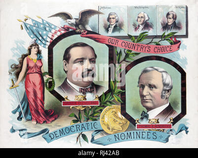 Print shows head-and-shoulders portraits of Grover Cleveland, Thomas A. Hendricks, the democratic candidates for president in 1884, also portraits of Jefferson, Washington, and Jackson. - Stock Photo