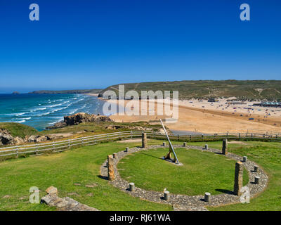 22 June 2018: Perranporth, North Cornwall, UK - The Perranzabuloe Millennium Sundial by local artist Stuart Thorn, overlooking the beach, during the s - Stock Photo