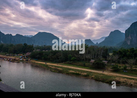 The Nam Song River in evening,Vang Vieng,Laos. - Stock Photo