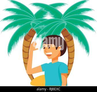 tourist man with beach palms vector illustration design - Stock Photo