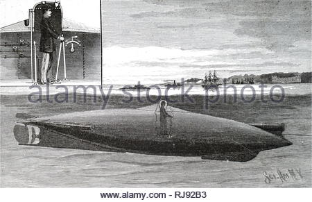 Engraving depicting John Philip Holland's submarine under trials for the US Navy. The inset picture shows how the boat was controlled from the central turret. The controller looked out through two bulls-eye glasses placed at a convenient distance apart for the human eyes. John Phillip Holland (1840-1914) an Irish engineer who developed the first submarine to be formally commissioned by the US Navy, and the first Royal Navy submarine, Holland 1. Dated 19th century - Stock Photo
