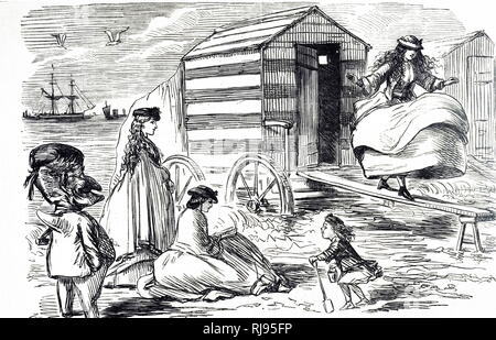 A cartoon depicting a group of sisters enjoying their day at the beach. Illustrated by John Leech (1817-1864) an English caricaturist and illustrator. Dated 19th century - Stock Photo