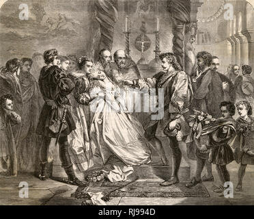 Act IV, Scene I Hero faints at the altar after being accused by Claudio of infidelity. - Stock Photo