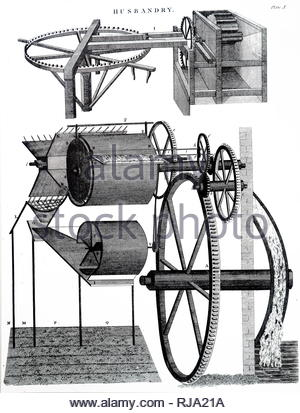 Engraving depicting Andrew Meikle's threshing machine which was used to remove the outer husks from grains of wheat. Top: horse-powered machine. Bottom: improved version powered by a water wheel. Andrew Meikle (1719-1811) a Scottish mechanical engineer credited with inventing the threshing machine. Dated 19th century - Stock Photo