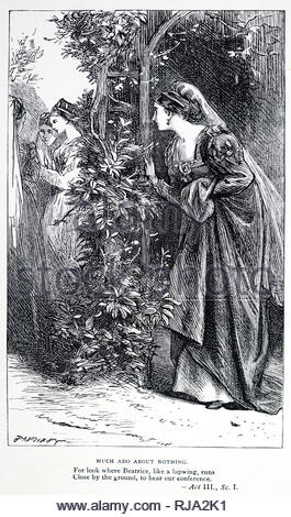 Engraving depicting a scene from Much Ado About Nothing by William Shakespeare. Beatrice, lured to the garden by Hero so that she can overhear a conversation between Hero and Ursula. William Shakespeare (1564-1616) an English poet, playwright, and actor. Dated 19th century - Stock Photo