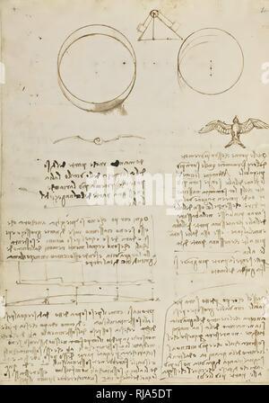 Codice sul volo degli uccelli 0004V. Author: LEONARDO DA VINCI. - Stock Photo