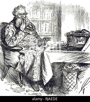 Cartoon by Charles Samuel Heene, (1823-1891), showing a man struggling with the 'new technology' of a typewriter. 1888 - Stock Photo
