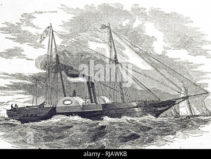 An engraving depicting the HMY Victoria and Albert, a royal yacht of the Royal Navy of the United Kingdom. Dated 19th century - Stock Photo