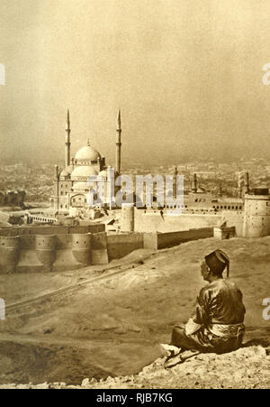 General view of Cairo, Egypt, from the Mokattam (Mukattam) Hills, with the Mosque of Muhammad Ali Pasha or Alabaster Mosque in the near distance. - Stock Photo