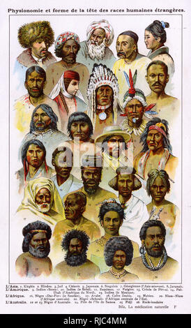 Heads of different indigenous peoples from around the world. - Stock Photo