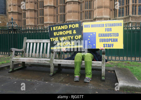 London, UK. 6th Feb, 2019. A seated Pro Europe protester holds placards   outside Parliament as Prime Minister Theresa May holds talks in Belfast with the DUP Democratic Union Party over the backstop before going to Brussels Credit: amer ghazzal/Alamy Live News - Stock Photo