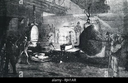 An engraving depicting the casting of mortar at Grissell's Regent's Canal Ironworks, City Road, London. A Nasmyth safety ladle is used. Dated 19th century - Stock Photo