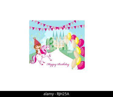 Happy little girl on unicorn in fantasy world - Stock Photo