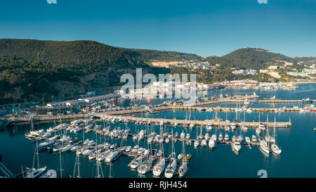 Aerial; panoramic view of small harbour with sailboats, yachts - Stock Photo