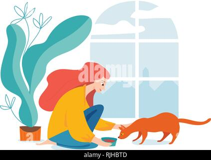 Hygge illustration with a womal feed a cat - Stock Photo