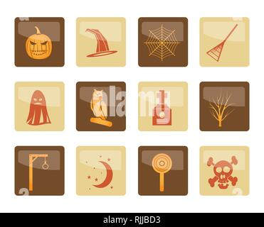 Halloween icon pack  with bat, pumpkin, witch, ghost, hat over brown background - vector icon set - Stock Photo