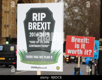 London, UK. 6th Feb, 2019. Placards seen during the protests. Pro and Anti-Brexit demonstrators continue to protest outside the Houses of Parliament, Westminster. Credit: Keith Mayhew/SOPA Images/ZUMA Wire/Alamy Live News - Stock Photo