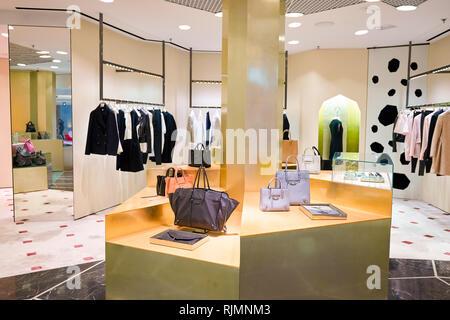 HONG KONG - JANUARY 26, 2016: design of Balenciaga store at Elements Shopping Mall. Balenciaga is a European luxury fashion house founded by Cristobal - Stock Photo