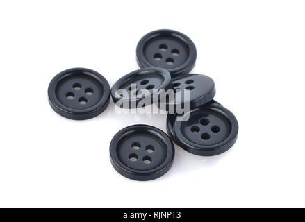 Black buttons isolated on white background - Stock Photo