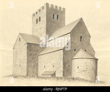 Reconstruction of Saint Olof medieval church in Sigtuna, viewed from south-east. - Stock Photo