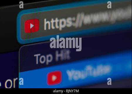 New york, USA - february 6, 2019: Youtube icon on official web page on device screen pixelated close up view - Stock Photo