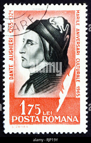 ROMANIA - CIRCA 1965: a stamp printed in the Romania shows Dante Alighieri, Italian Poet, circa 1965 - Stock Photo