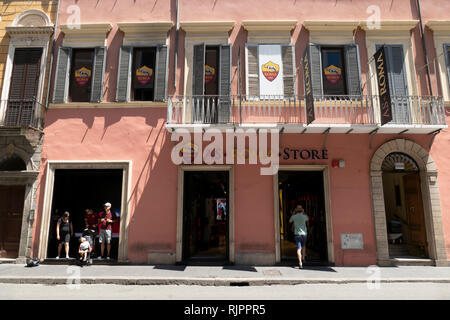 fanshop of the soccer club as rome in the old town of rome, italy - Stock Photo