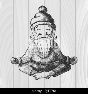 Santa Claus sits in a lotus position, engaged in yoga. Vector illustration. Hand drawn. Sketch isolated on wooden background. - Stock Photo