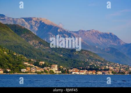 Donja Lastva and Tivat, Bay of Kotor, Province of Tivat, Montenegro - Stock Photo