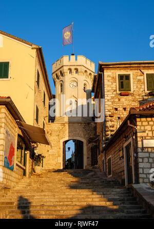 Clock Tower, Old Town, Herceg Novi, Bay of Kotor, Montenegro - Stock Photo
