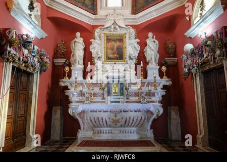 Altar, pilgrimage church on the island Our Lady of the Rocks, Gospa od Skrpjela, Bay of Kotor, Kotor Province, Montenegro - Stock Photo