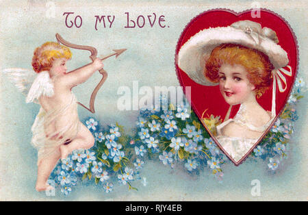 VALENTINE'S DAY CARD about 1890 - Stock Photo