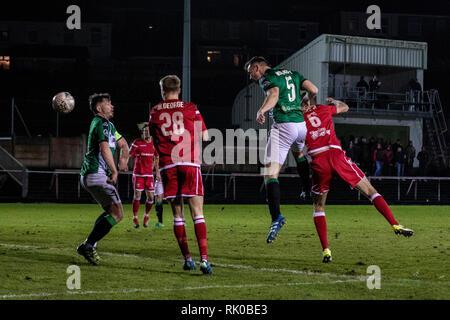Llanelli, UK. 08th Feb, 2019. Llanelli Town host Aberystwyth Town at Stebonheath Park in the Welsh Premier League. Credit: Lewis Mitchell/Alamy Live News - Stock Photo