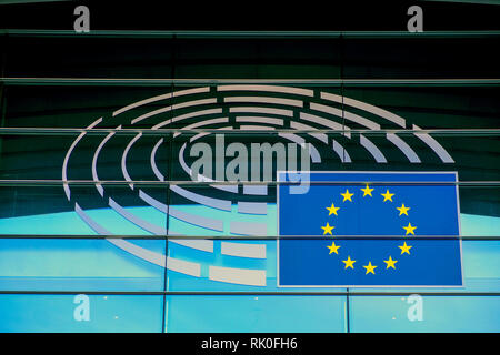 Brussels, Belgium - Logo of the European Parliament in Brussels on the building of Altiero Spinelli, Bruessel, Belgien - Logo des Europaeischen Parlam - Stock Photo