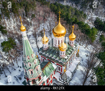 Winter snow view of Memorial Temple of the Birth of Christ, Russian Style Church Cathedral ( Monastery Nativity ) in Shipka, Bulgaria - Stock Photo
