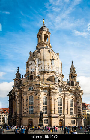 Frauenkirche (Our Lady church) and statue of Martin Luther in the center of old town in Dresden, Germany - Stock Photo
